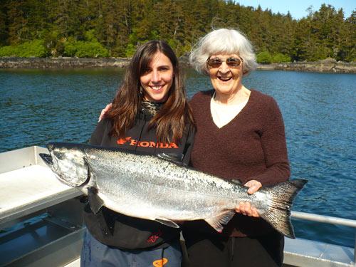 Dianne and her Grandma King Salmon Fishing