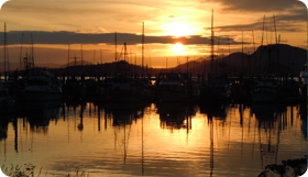 Sunset in Eliason Harbor in Sitka, Alaskas