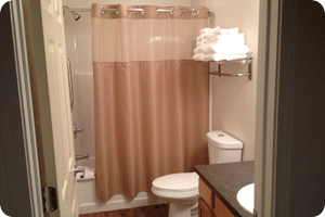 Bathroom example in our Wild Strawberry Suites at the lodge in Sitka