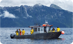 Full house in fishing action on the water in Alaska