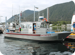 Our New boat the Jackpot sitting in Eliason Harbor in Sitka AK