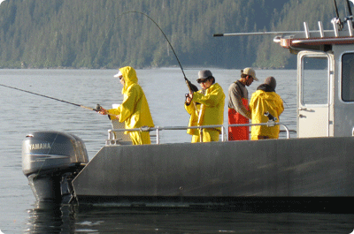 Fishing for King Salmon in Sitka Alaska at Wild Strawberry Lodge