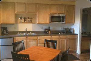 Wild Strawberry Lodge suites kitchen in Sitka AK