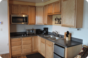 Room 11 Kitchenette in our Wild Strawberry Lodge Suites in Sitka Alaska