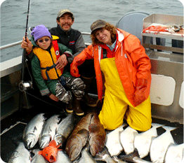 Karina, Johnny & Theresa with their catch of salmon, halibut, rockfish and yellow eye