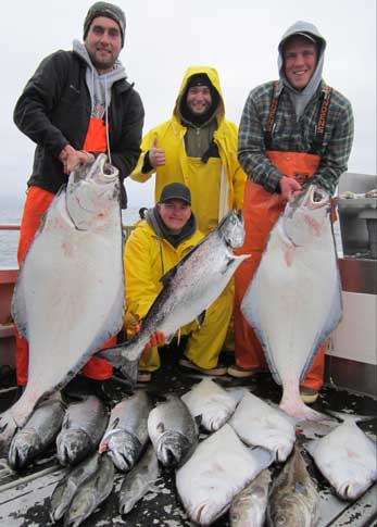 5 10 13 Johns first big halibut 44 inch Plus limits of kings