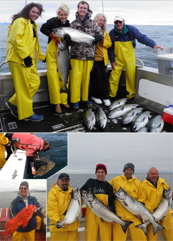 5 28 2011 Releasing a 114 lb halibut Doubles triples quads on Kings a great day fishing