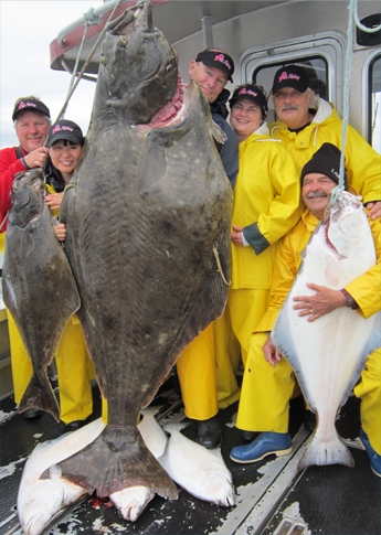 8 10 2012 This 325 lb halibut dwarfs the Pink Fishing anglers