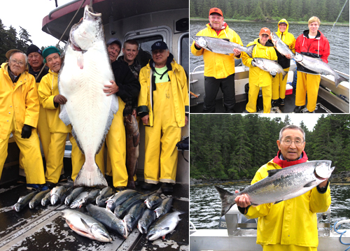 8 6 2012 Jackson's 73 inch halibut and some kings cohos make a great day