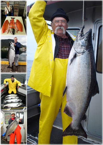 06 18 2010 High Rollin with a 60 pound king salmon is so exciting that everyone wants to hold it