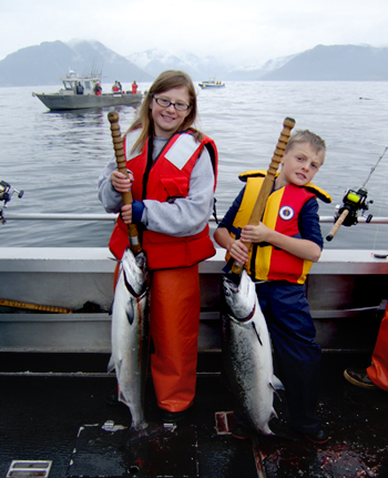 06 30 2009 Look what we did in Alaska The first king salmon for each of us