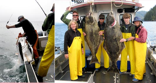 07 30 2009 Action Success with a 140 lb and a 92 lb halibut
