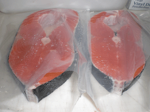 Salmon fillet in the Alaska Premier Charters, Inc. Processing Room