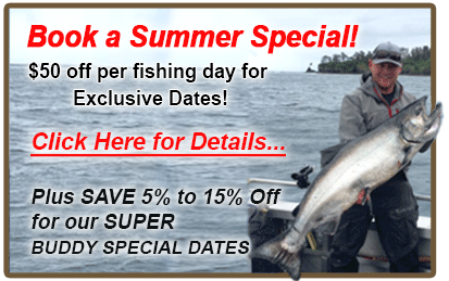 summer special, wild strawberry lodge, sitka alaska, alaska premier charters, king salmon, fishing sitka